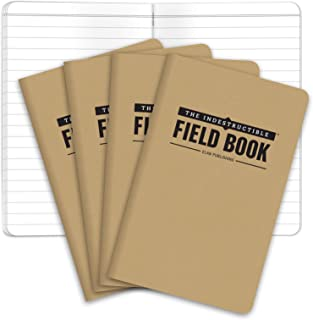 "The Indestructible, Waterproof, Tearproof, Weatherproof Field Notebook - 3.5""x5.5"" - Kraft- Lined Memo Book - Pack of 4"