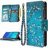 Miagon 9 Kartensteckplätzen Lederhülle für Huawei P30 Lite,Bunt Reißverschluss Flip Hülle Wallet Case Handyhülle PU Leder Tasche Schutzhülle,Blau Blume