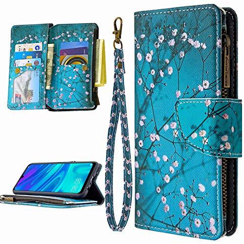 Miagon 9 Kartensteckplätzen Lederhülle für Huawei P Smart 2020,Bunt Reißverschluss Flip Hülle Wallet Case Handyhülle PU Leder Tasche Schutzhülle,Blau Blume