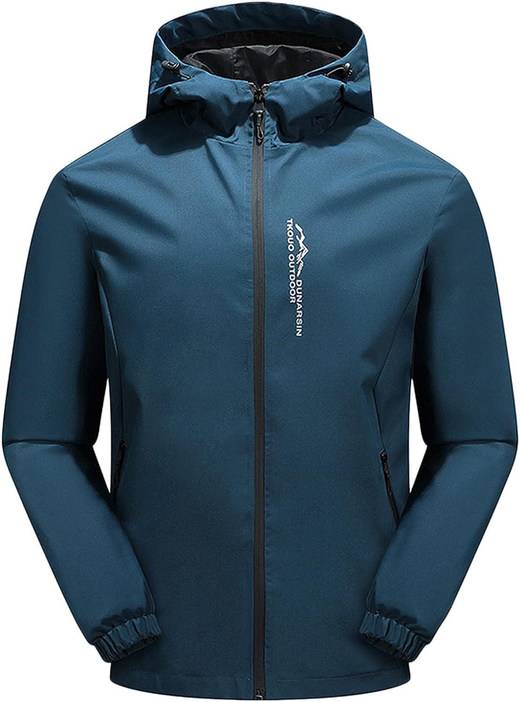 Huangse 2021 Fashion Hood Raincoat for Men and Women's Waterproof Coat Zipper Long Sleeve Solid Color Outdoor Rain Jacket