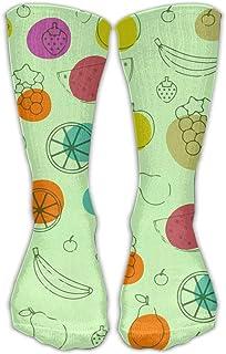 靴下 抗菌防臭 ソックス ユニセックスクラシックソックスカラータイプフルーツの背景アスレチックストッキング