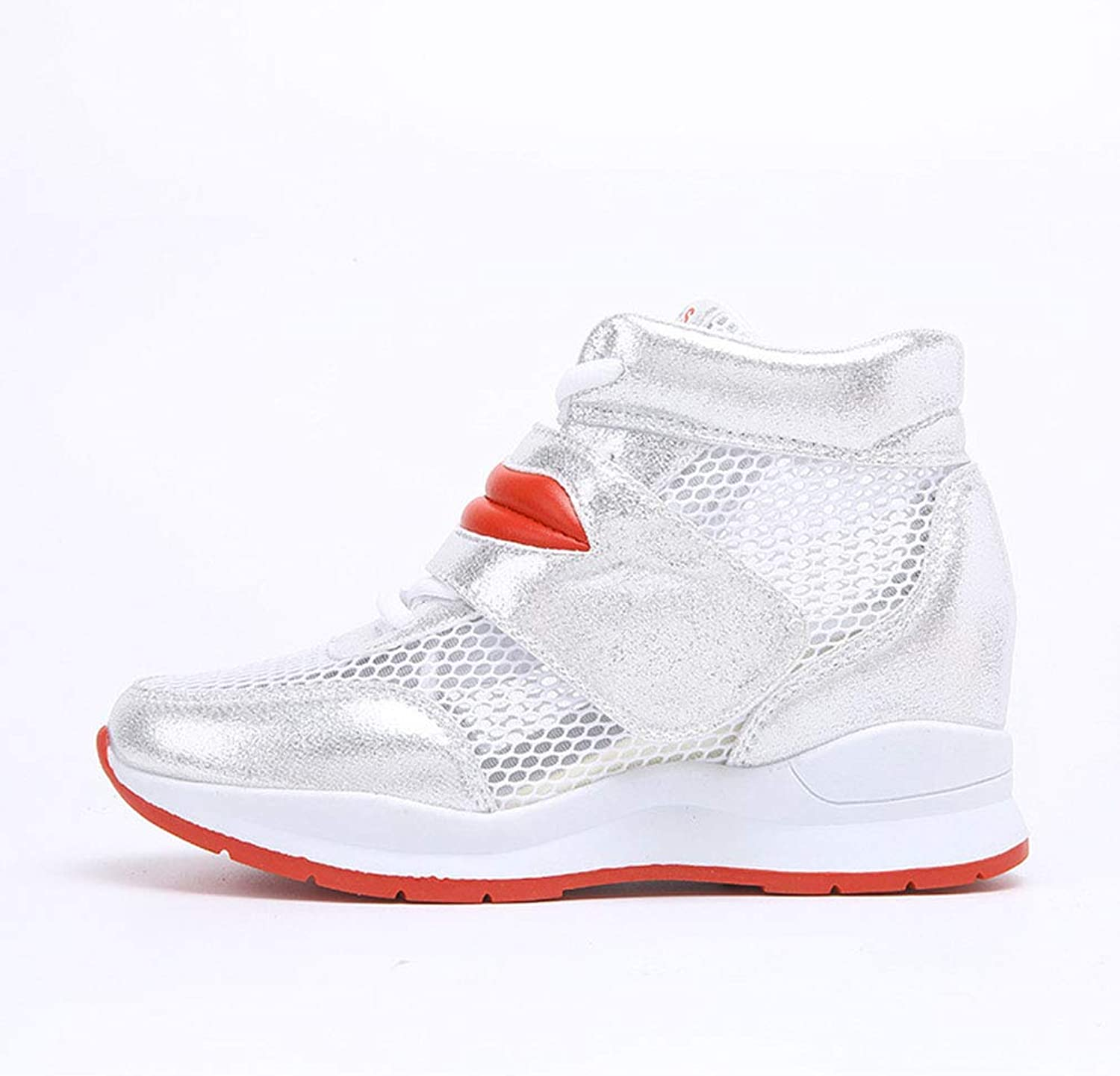 Women's Casual shoes Mesh Breathable Sports shoes High-Top Sneakers Wedge Outdoor Walking shoes Fashion Running shoes,A,36