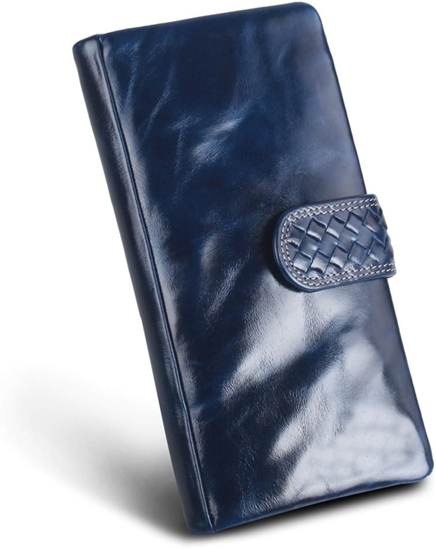 Ladies Wallet Leather, Women Wallet, Slim Long Wallet, Waxed Leather, Vintage Design, Wallet,Polar bluee(10  2.5  18cm)