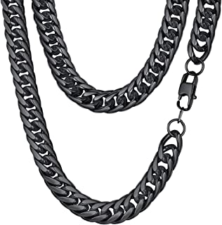 FindChic Men Curb Chain Necklace 18K Gold Plated/Stainless Steel/Black Chunky Double Tight Cuban Link Hip Hop Neck Chains for Men Boys 3.5MM/5MM/6MM/7MM/9MM/12MM 14''-30'' 8 Length Options + Gift Box