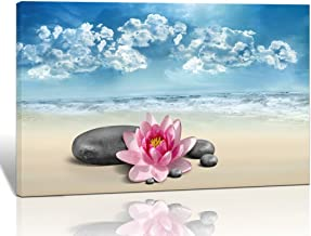 Purple Verbena Art 10''x14'' Stretched and Framed Water Lilies with Black Spa Stone Under Blue Sky Pictures Prints on Canvas Artwork, Modern High Giclee Beach Design Walls Paintings for Bedroom Decor