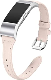 bayite Bands Compatible Fitbit Charge 2, Slim Genuine Leather Band Replacement Accessories Strap Charge2 Women Men Large Small