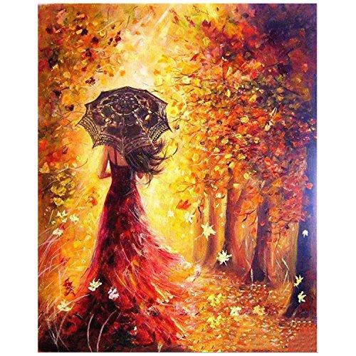 Pintar por Numeros,Digital Bricolaje Hermosa Chica Pintura al óleo para Colorear por números en Lienzo de Lino decoración de Arte de Pared (40 x 50 cm/15.75 x 19.69 Pulgadas)