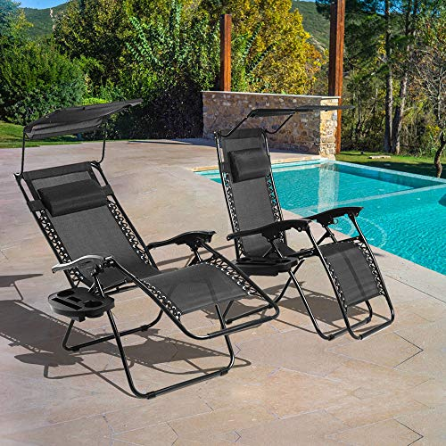 Zero Gravity Chair, 2 Pack Patio Lounge Chair Folding Outdoor Indoor Adjustable Backyard Recliner Chair Chaise with Cup Holder Tray and Canopy Shade for Pool, Beach, Lawn, Deck, Camping - Black