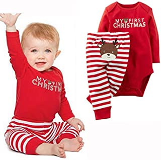 Newborn Baby Boy Girls My First Christmas 2Pcs Bodysuit Santa Claus Printed Sets Red Romper+Red Stripe Pants