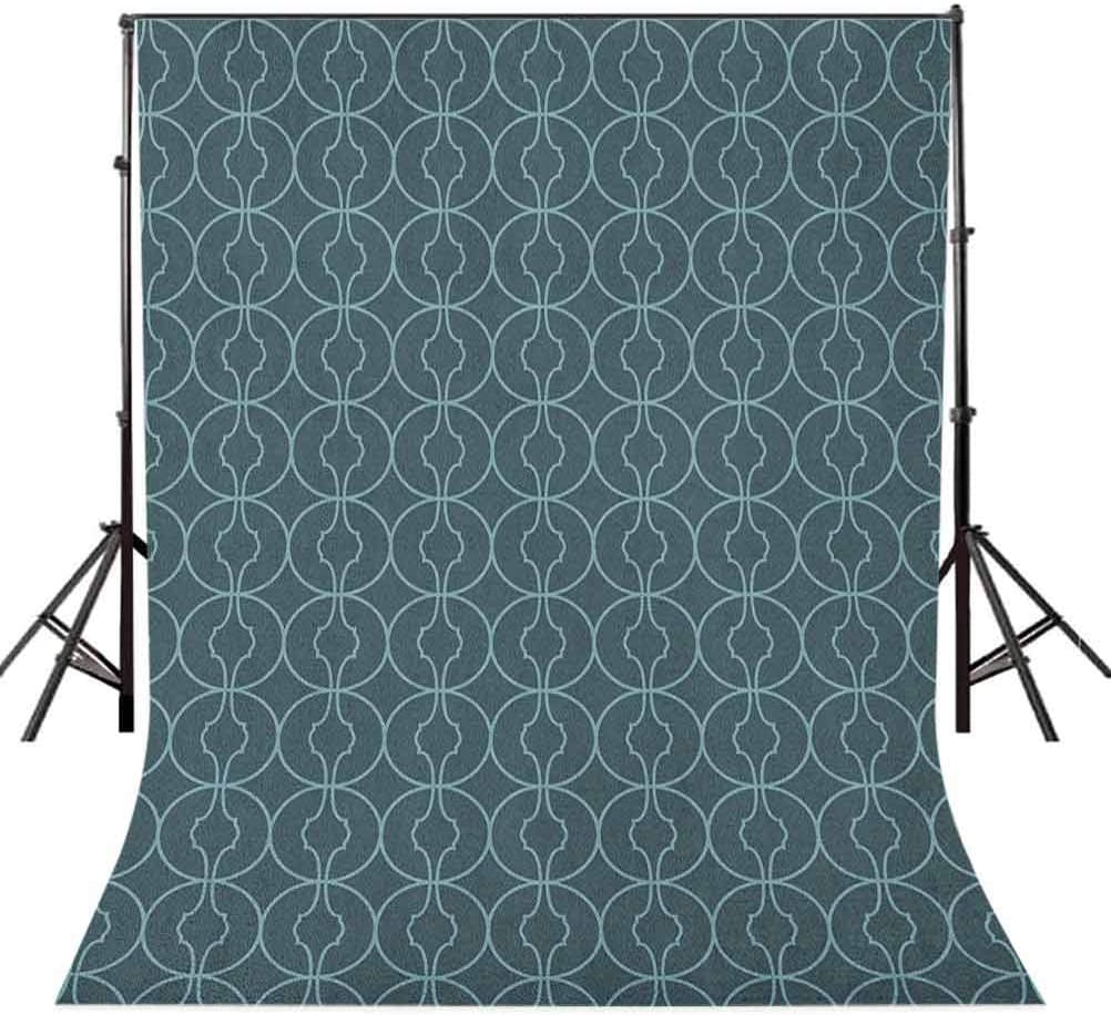 8x12 FT Antique Vinyl Photography Backdrop,Moroccan Oriental Design with Geometric Shapes Circles Corners Print Background for Photo Backdrop Baby Newborn Photo Studio Props