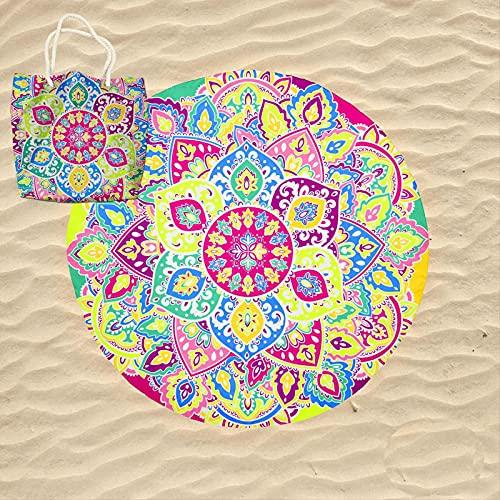 KN Toalla Playa Gigante para Mujer en Diseño de Impresos con Regalo de Una Bolsa Ideal para la Piscina o la Playa Colorido y Original 180cm Redonda (RD012)