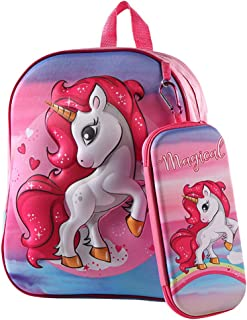 Mochila para Niños Unicornio, Bolso y Mochila para Lápices 3D Unicornio, Mochila de Viaje para Deportes al Aire Libre para Niños, Regalo de Cumpleaños para Niños