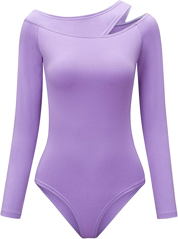 Loodgao Women's Cut Out Shoulder Bodysuit Shirt Long Sleeve High Cut Bodycon Leotard Clubwear Dancewear
