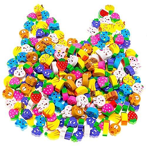 Paquete de 120 gomas de borrar de animales sin látex para niños, al azar lindas frutas 3D borradores de animales, surtido de golosinas divertidas, conejos de gato divertido..