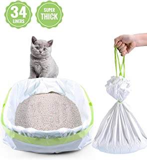 "PETOCAT Litter Box Liners, 34 Count Jumbo Cat Litter Pan liners, Drawstring Litter Liner Bags For Litter Box, Easy Clean Up. Thick Large Kitty Litter Liner XL, Eco Friendly Pet Cat Supplies(36"" x 19"")"