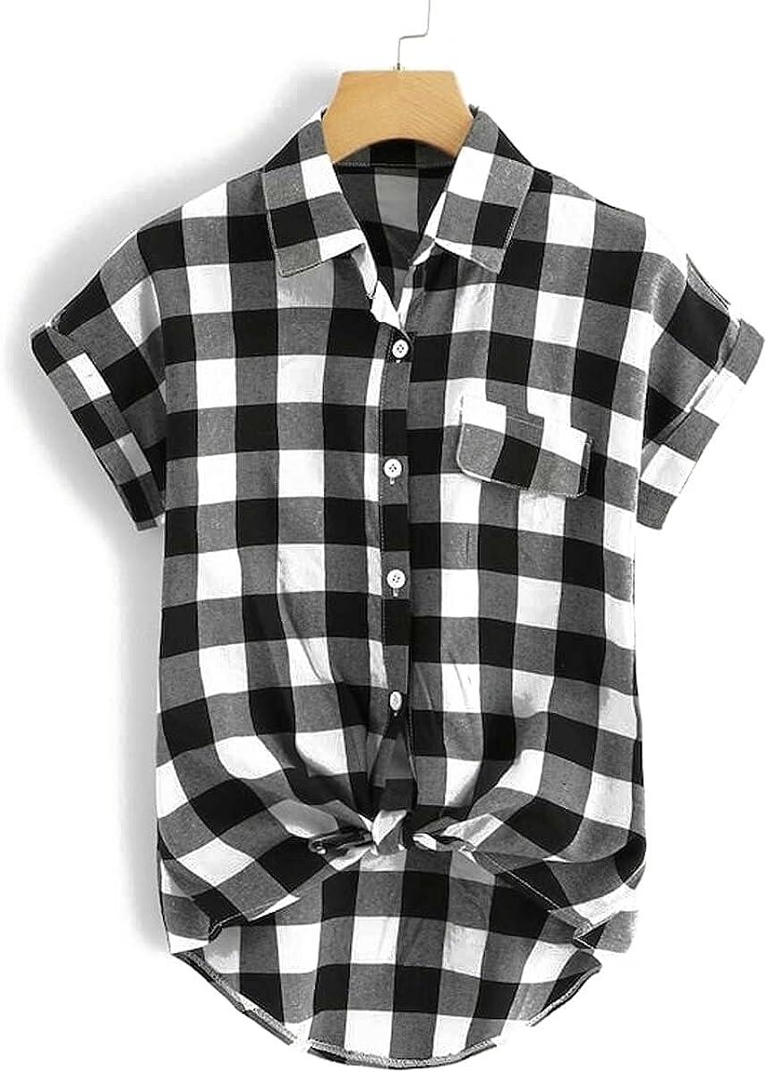 Milumia Women's Plus Size Plaid Shirt Button Down Collar High Low Hem Tunic Top Blouse