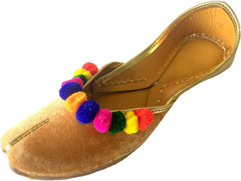 Step n Style Women Flat Velvet Multiflower Khussa shoes Punjabi Jutti Rajasthani Mojari Pumps