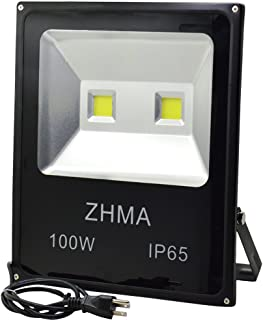 ZHMA 100W LED Flood Light,Waterproof IP65 Super Bright Outdoor Work Light With US 3-Plug,LED Work Light,500W Halogen Bulb Equivalent,6000K White Light,led spotlight,Floodlight