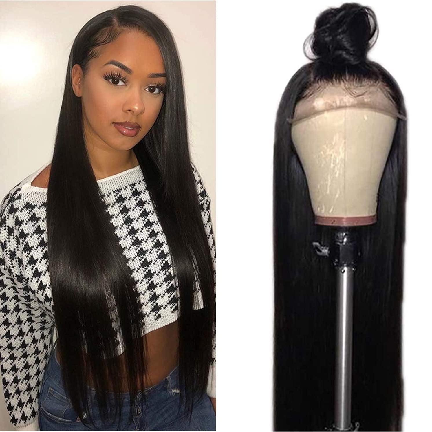 Tuneful 150% Density Human Hair Glueless Lace Front Wigs with Baby Hair Brazilian Straight Human Hair wigs for Black Women Pre Plucked Lace Wigs Natural Hairline 26 inch