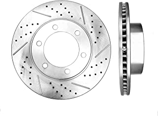 2 Brake Disc Rotors + 4 Pickup SUV Series Ceramic Brake Pads REAR 285 mm Premium OE 5 Lug Clips CRK12807
