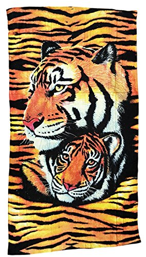 Ilkadim Strandtuch 70x140cm, Handtuch für Kinder und Erwachsene, Badetuch 100% Baumwolle (Ocker beige 2 Tiger)