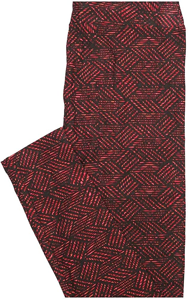Lularoe One Size OS Parquet Black Red Geometric Buttery Soft Leggings - OS fits Adults 2-10