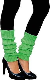 Oblique Unique Sexy Damen Bein Stulpen Neon Strümpfe für 80er Jahre 80s Motto Party Fasching Karneval Tanzen Aerobic Kostüm Accessoires - Farbe wählbar Neongrün