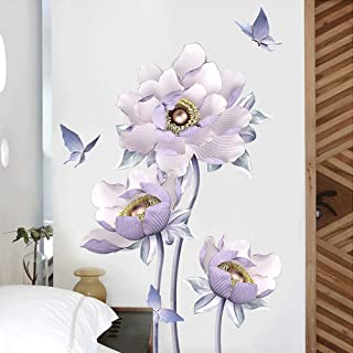 """NEW 30""""x20"""" Blue Purple Fairy Flower Stems Sketched Vinyl Wall Decal Stickers"""
