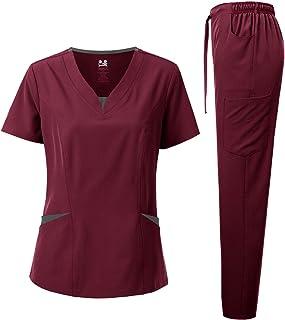 Dagacci Medical Uniform Women's Contrast V-Neck Natural Stretch Scrub Set