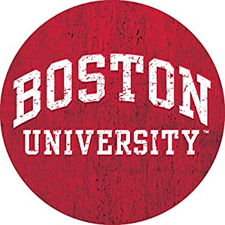 R and R Imports, Inc Boston University Terriers NCAA Collegiate Distressed Wood Grain Trendy 4 Inch Round Decal Sticker