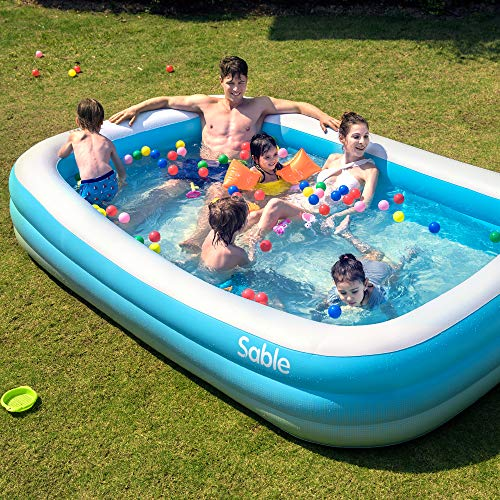 Sable Inflatable Pool, Blow Up Family Full-Sized Pool for Kids, Toddlers, Infant