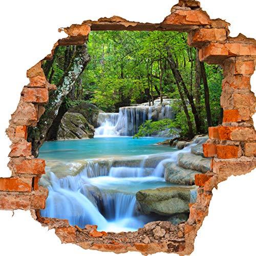 wandmotiv24 3D-Wandsticker Wasserfall im Wald, Design 02, 90x82cm (BxH), Aufkleber Wand-deko, Wandbild, 3D Effekt, Fenster, Mauer, Wandaufkleber, Sticker M0485