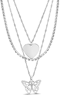 Steve Madden Rhinestone Tennis Heart Butterfly Charm 3 Row Layered Chain Necklace for Women
