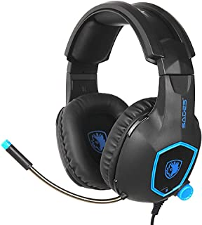 SADES SA818 3.5mm Multi-Platform Stereo Sound PC Gaming Headset, Over-ear Gaming Headphones for Xbox one/PS4/PC/Black and ...
