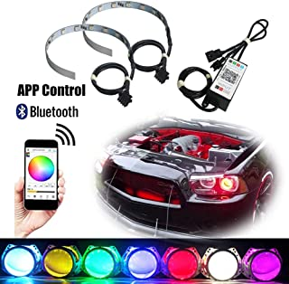 Bluetooth APP Wireless Remote Control 12-SMD RGB LED Demon Eye Halo Ring Kit For Car Auto Motorcycle Headlight Projectors or 2.8