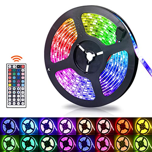 Led Strip Lights, 16.4Ft LED Light Strip Waterproof RGB 5050 300LEDs Flexible LED Tape Lights, LED Light Strips Kit for Home, Bedroom, Kitchen, TV Backlight, DIY Decoration - Multicolored