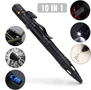Merssyria 10 in 1 Multifunctional Tactical Pen for Self Defense - Heavy Duty Aircraft Aluminum EDC Survival Pen with Window Breaker, Flashlight, Flint, Emergency Whistle & Screwdriver Tools