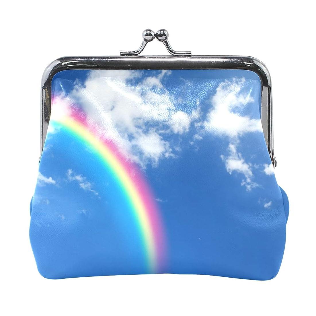 見ました出席悪意のあるAOMOKI 財布 小銭入れ ガマ口 コインケース レディース メンズ レザー 丸形 おしゃれ プレゼント ギフト デザイン オリジナル 小物ケース 虹 空
