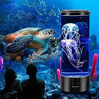 Tokenhigh Led Medusas Pequeñas Luces Nocturnas Decoradas Atmósfera Luces Volcánicas Coloridos Peces Pequeños Lámpara Grande De Medusas con 7 Ajustes De Color USB para Decorar Regalo y Regalo Creativo