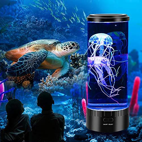 Mini Quallen Stimmungs Lampen,Quallenlampe Aquarium,Nachtlicht USB-Aufladung mit 5 Farbwechsel Licht Dekompression Geschenk für Kinder