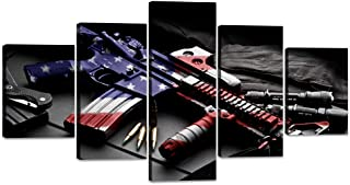 5 Pieces Retro US Flag Military Gun Wall Art Decor USA American Flag Prints on Cool Gun Canvas Painting Posters Pictures Prints Wooden Artwork for Living Room Office Framed Ready to Hang (60