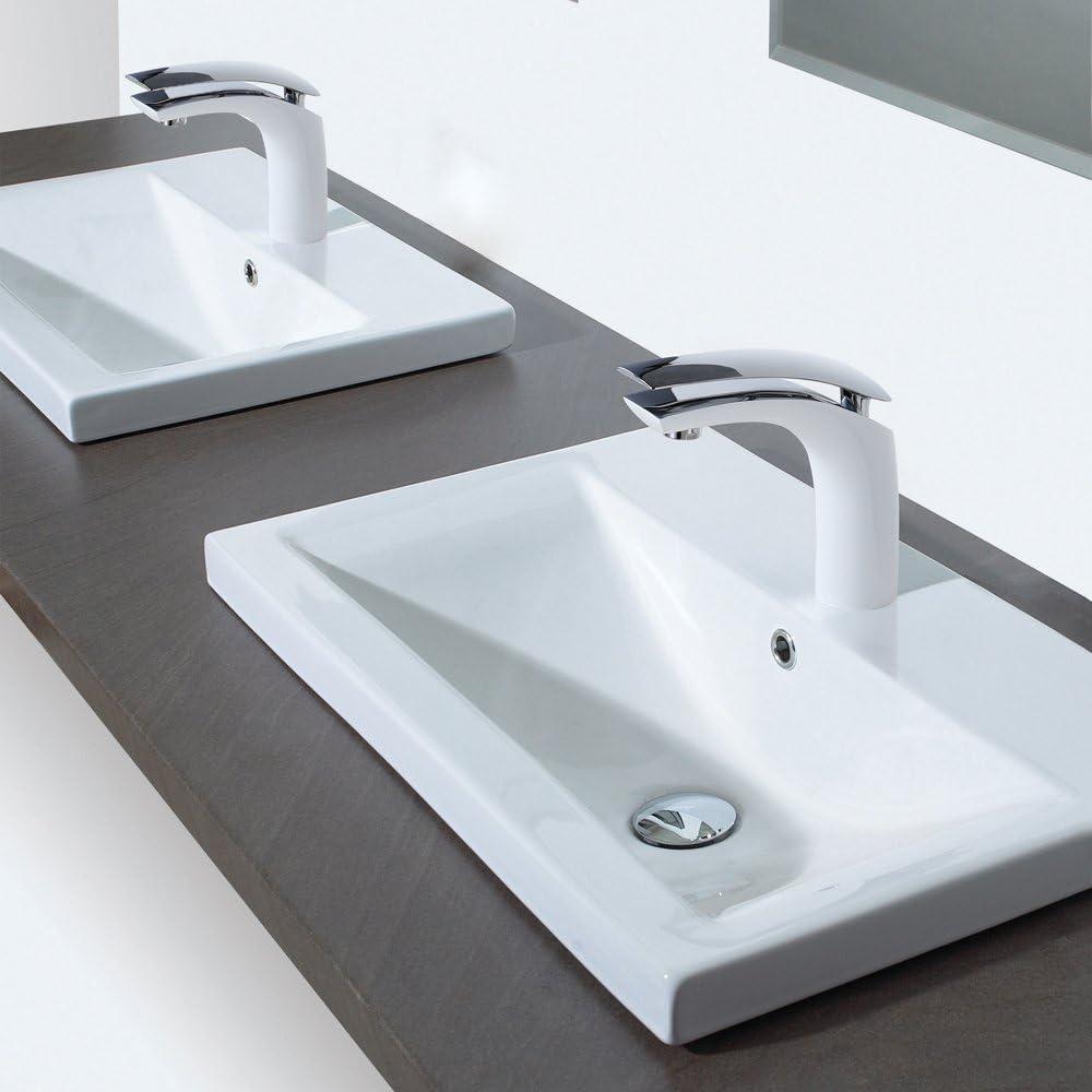 Homelody Wei/ß Chrom Waschtischarmatur hoch Wasserhahn Bad Armatur Badzimmer Einhebelmischer Badarmatur Waschbecken Waschtisch Mischbatterie