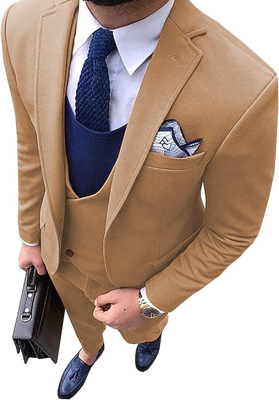 FittyTuxe Men's 3 Piece Suit Wool Tweed Slim Fit One Button Blazer Wedding Jacket Vest & Trousers