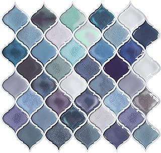 FAM STICKTILES Teal Arabesque Peel and Stick Tile for Kitchen Backsplash, Peel and Stick Wall Tiles Decorative Backsplash, Stick on Tiles for Backsplash Smart Tiles 11