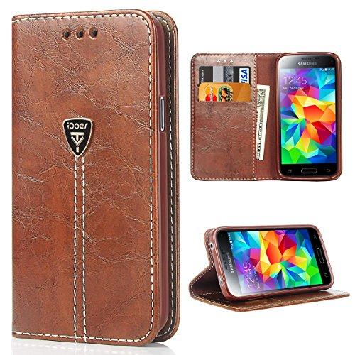 Galaxy S5 Hülle Hochwertig handyhülle s5 mit klappe tasche handyhuelle schutzhülle Handys Schutz Hülle Leder magnet handytasche Flip Case für samsung s5 / S5 Neo mit Ständer - Kaffeebraun