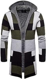 Hooded Knit Long Cardigan Fashion Color Block Coat Jacket