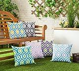 Gefülltes Kissen Blau Grau Geometrisches Design Wasserdicht Für Draußen Gartenmöbel - 4