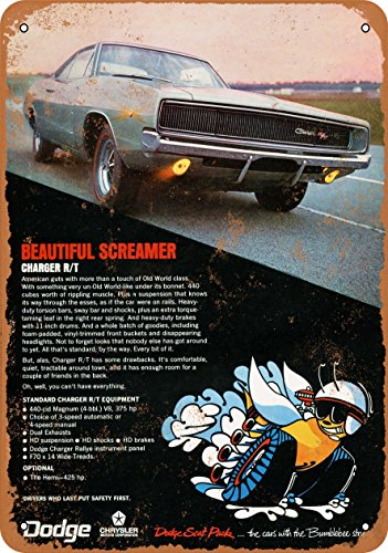 Wall-Color 7 x 10 Metal Sign - 1968 Dodge Charger R/T - Vintage Look 2