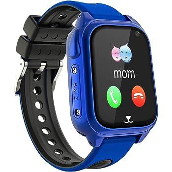 GPS étanche Smartwatch pour Enfants - IP67 résistant à l'eau Montre Phone avec Localisateur GPS Chat Vocal SOS Réveil Caméra Jeu Garçon Fille Cadeau Regarder Compatible avec iOS Android (SS8-Blue)