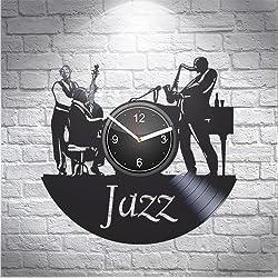 Jazz Saxophone Music Fans Gift For Musician Boyfriend Girlfriend Wall Art, New Handmade Vinyl Wall Clock Decor, Office Decoration For Room Inspirational, Best Present Silent Mechanism, Vinyl Record
